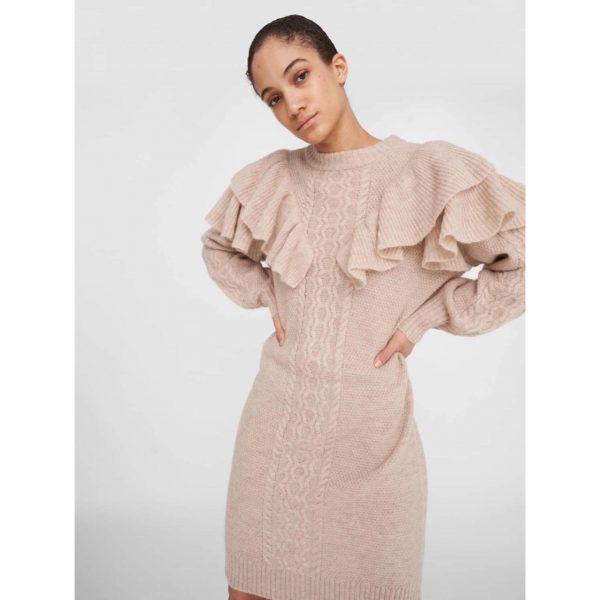 Frill Knit Jumper Dress in stone