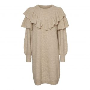 Frill Knit Jumper Dress in stone