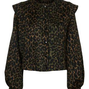 Dusty Olive Leopard Frill Shoulder Jacket