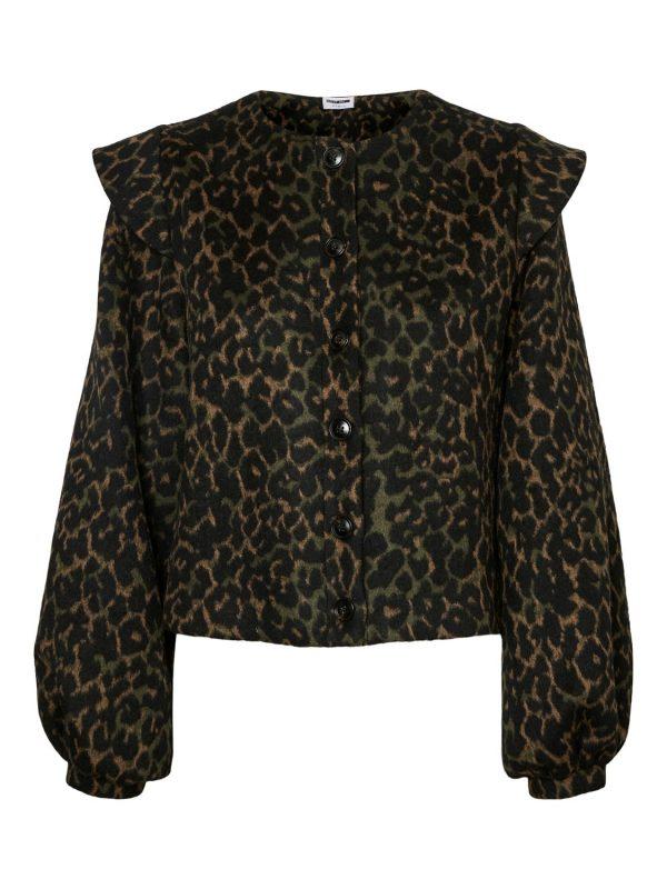 Dusty Olive Leopard Frill Shoulder Jacket