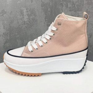 High Hike Platform Trainers in Nude Pink