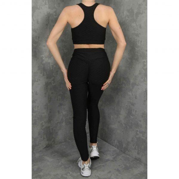 Black Waffle Crop Top & Leggings Gym Set