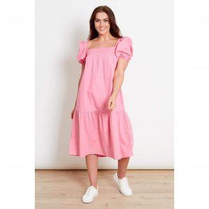 Pink Puff Sleeve Smock Dress