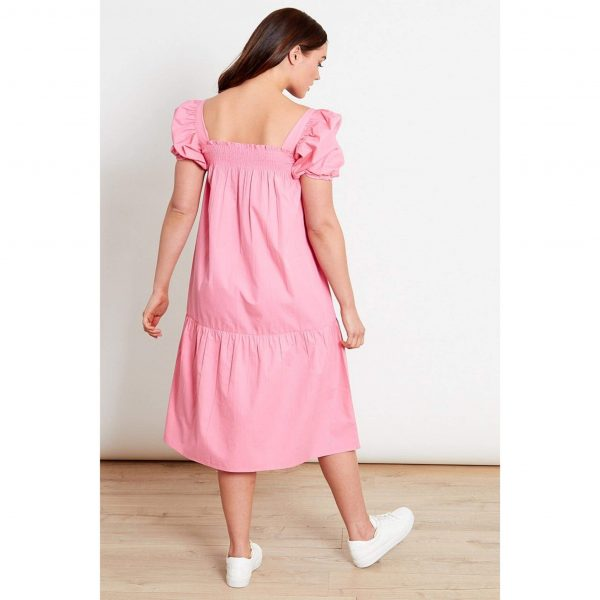 Pink Puff Sleeve Smock Dress