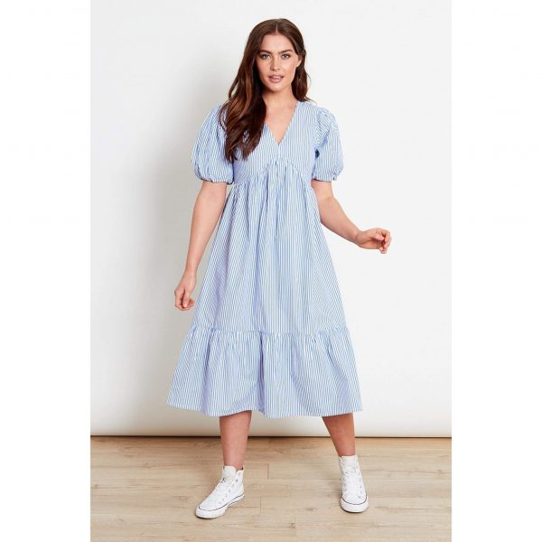 Blue and White Stripe Smock Dress