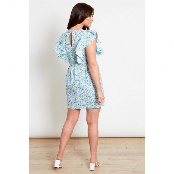 Blue Floral Frill Mini Dress