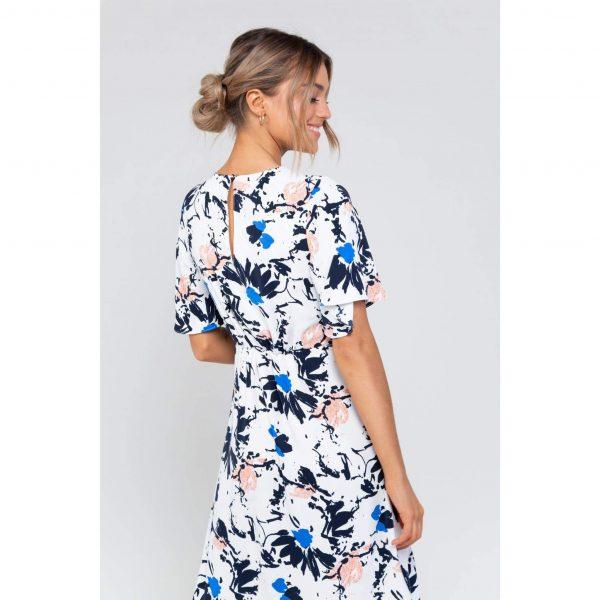 Blue and White Floral Print Midi Dress