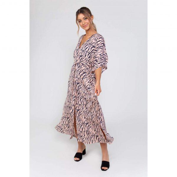 Pink Zebra Kaftan Dress