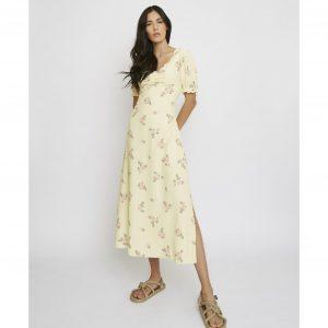 Yellow Roses Midi Dress