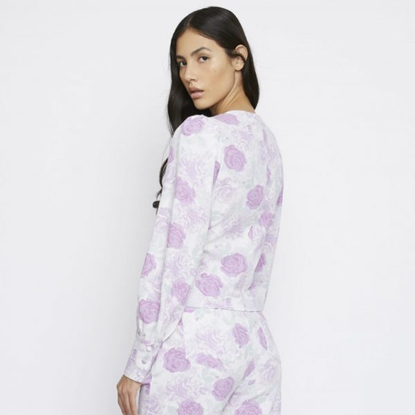 Lilac Roses Button Top