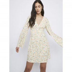 White Floral Backless Tea Dress
