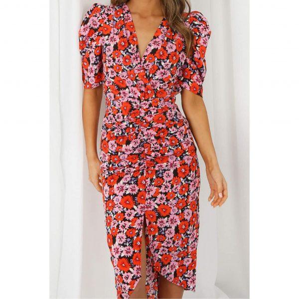 Floral Print Pleated V Neck Wrap Dress