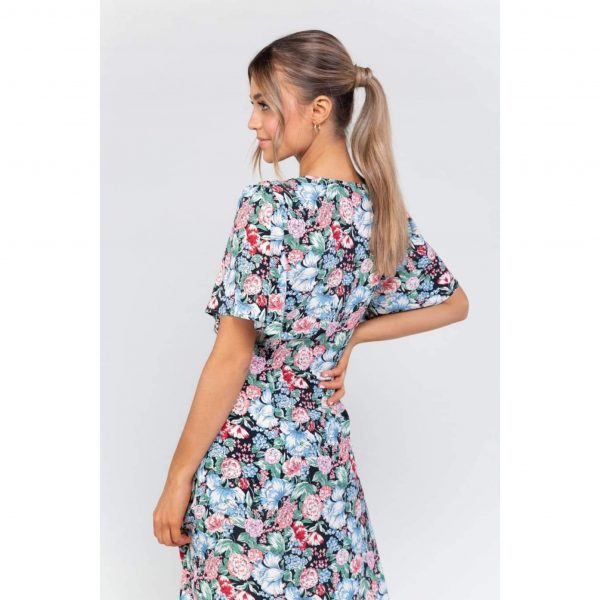 Eva Floral Frill Front Midi Dress