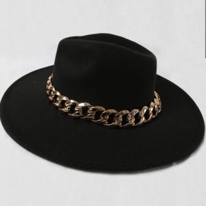 Black Fedora Hat with Gold Chain Detail