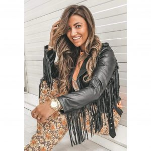 Black Fringed Faux Leather Jacket