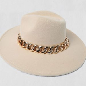 Beige Fedora Hat with Gold Chain Detail