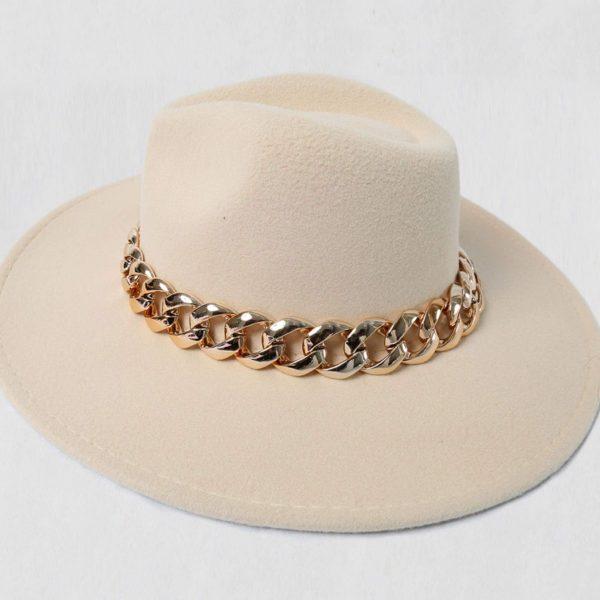 Beige Fedora Hat with Gold Chain Detail