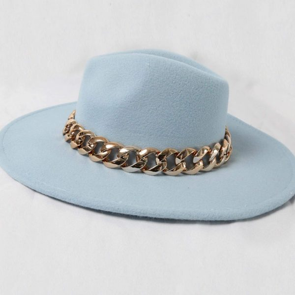 Blue Fedora Hat with Gold Chain Detail