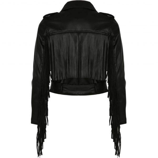 Black Fringed Faux Leather Jacket