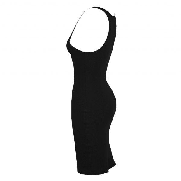 Black Round Neck Ribbed Midi Dress