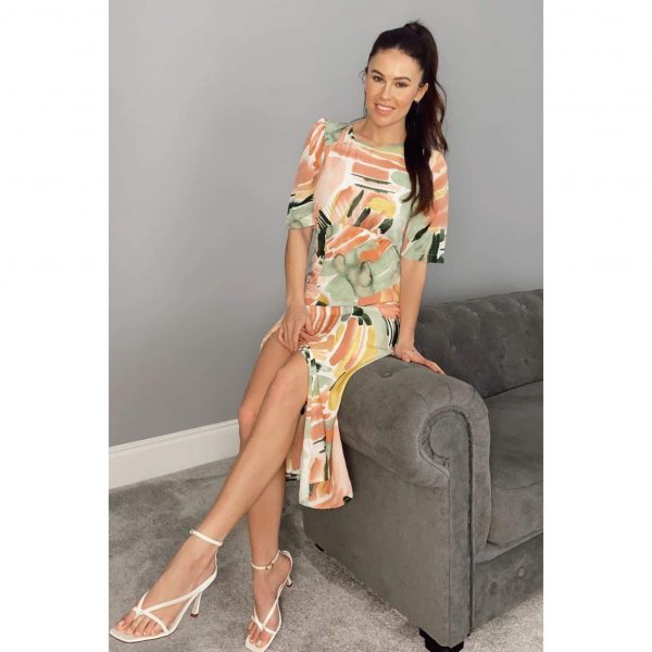 Margot Front Split Midi Dress Peach Abstract