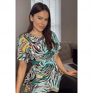 Imogen Angel Sleeve Peplum Top Colourful Zebra