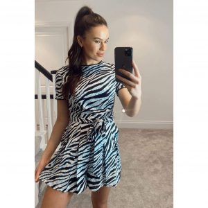 Leah Crochet Trim Belted Playsuit Blue Zebra
