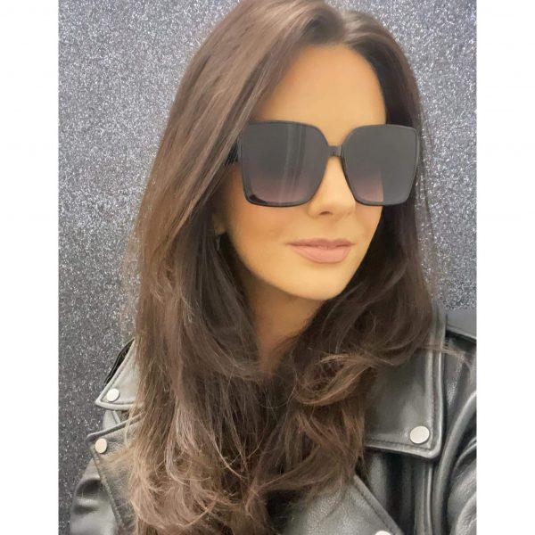 Oversized Square Smoked Lense Sunglasses Black