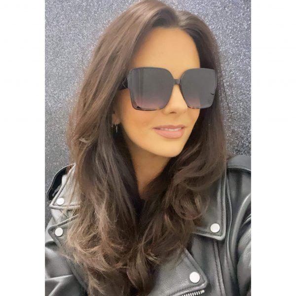 Oversized Square Smoked Lense Sunglasses Black & Tortoise shell
