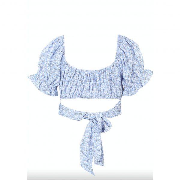 Blue Floral Tie Back Crop Top