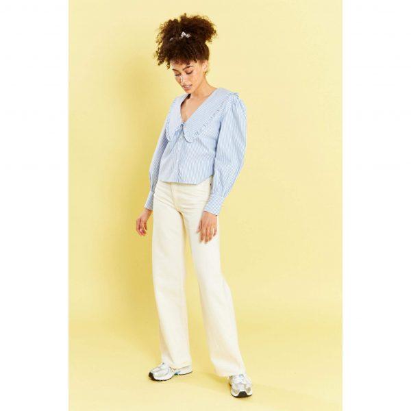 Blue Pin Stripe Peter Pan Collar Blouse