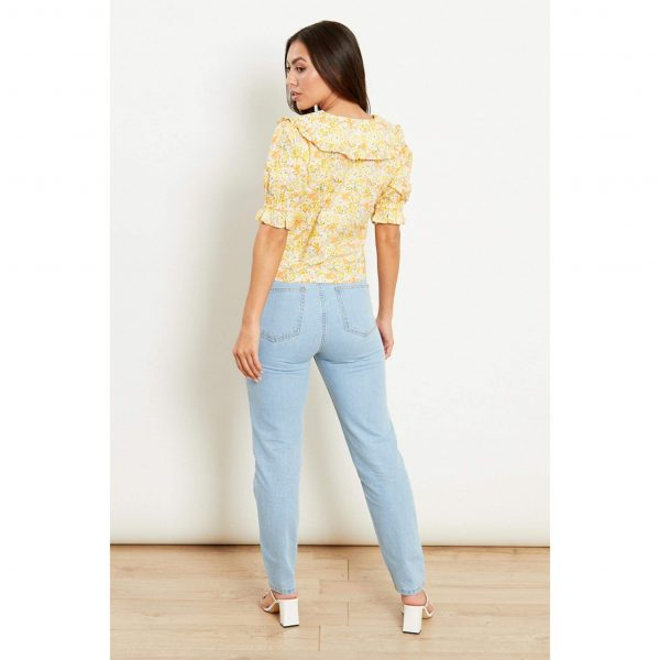 Yellow Floral Collared Blouse