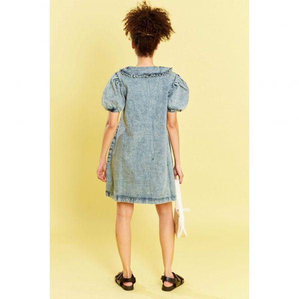 Denim Peter Pan Collared Smock Dress