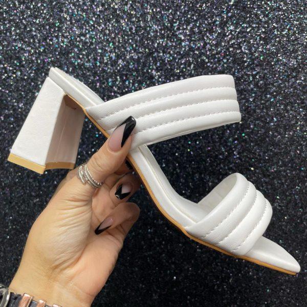 White Two Strap Mule Sandal