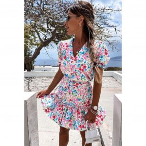 Blue and Green Floral Ditsy Frill Dress