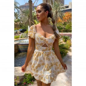 Gold And Cream Open Front Dress