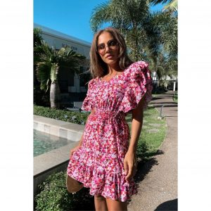 Purple and Red Floral Ditsy Frill Dress