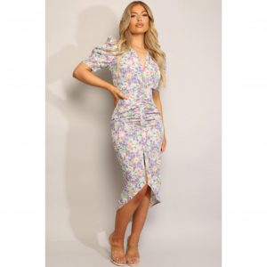 Lilac Floral Ruched Midi Dress