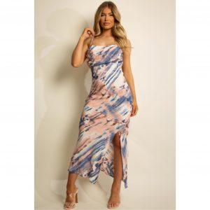 Tie Dye Satin Midi Dress