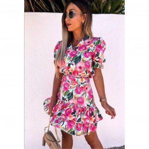 Pink Rose Print Frill Dress