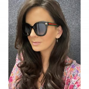 Black Round Bee Sunglasses with Red Detail