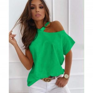 Green Cut Out Shoulder T-shirt