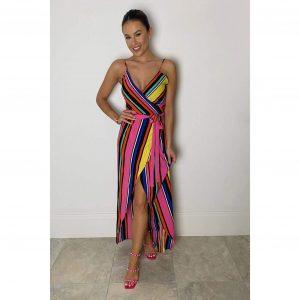 Rainbow Stripe Wrap Maxi Dress