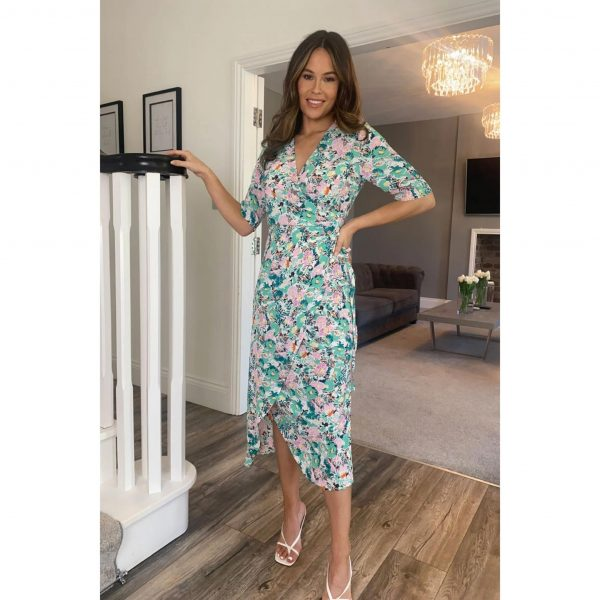 Ruched Skirt Wrap Midi in Green Floral