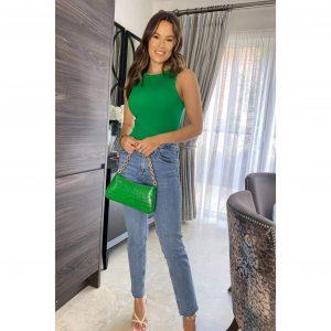 Green Knit Sleeveless Bodysuit