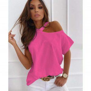 Pink Cut Out Shoulder T-Shirt