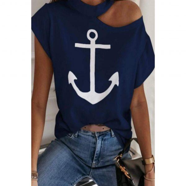 Navy Cut Out Shoulder Anchor T-shirt