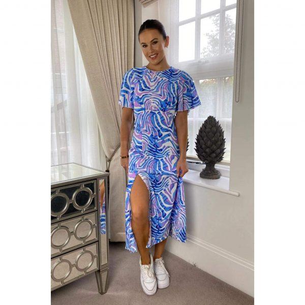 Britney Angel Blue Zebra Midi Dress
