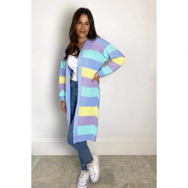 Bright Lights Stripe Cardigan Blue Mix