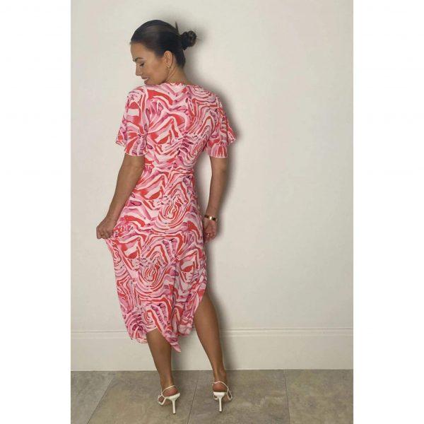 Britney Angel Pink Zebra Midi Dress